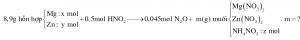 Hòa tan hoàn toàn 8,9 gam hỗn hợp gồm Mg và Zn bằng lượng vừa đủ 500 ml dung dịch HNO3 1M